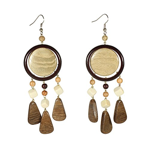 - Bohemian Silvertone Wooden Dream catcher Chandelier Earrings Brown White Boho Coachella Jewelry (Dreamcatcher)
