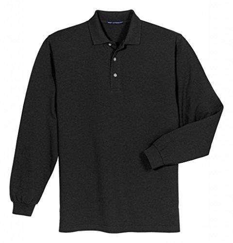 Port Authority Herren Schwergewicht Long Sleeve Pique Knit Polo Shirt Gr. XXXXXX-Large, schwarz