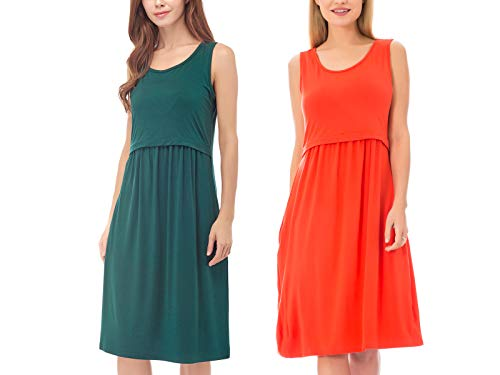(Bearsland Women's Sleeveless Maternity Dress Nursing Breastfeeding Dresses with Pockets)