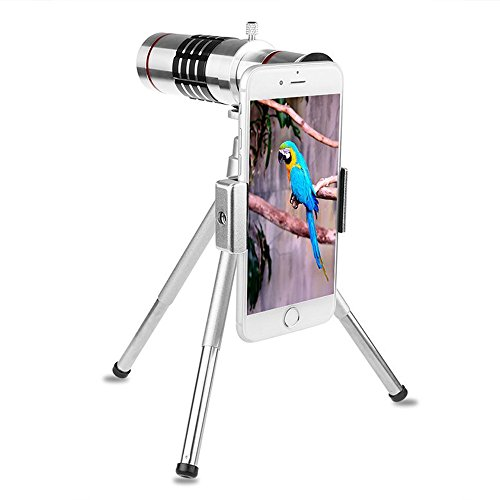 Price comparison product image Phone Lens Sunsbell Clip-on Camera Lens 18X Zoom Telephoto Optical Zoom Telescope Camera Lens Tripod Kit (Silver without Phone Case)