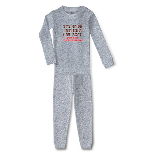 I'm Your Mom Says You are Welcome Cotton Crewneck Boys-Girls Infant Long Sleeve Sleepwear Pajama 2 Pcs Set - Oxford Gray, 5/6T ()