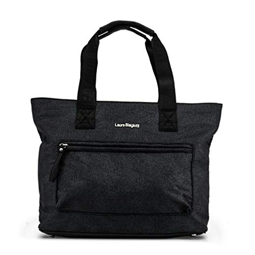 Designer Genuine Black Shopping Biagiotti Laura Bag Women xYqWXT