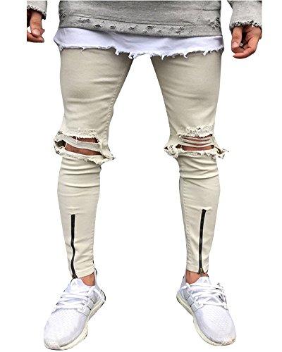 Hombre Elásticos Cómodos Jeans Slim Fit Denim vaqueros Destruido Rotos Tapered Tejanos Pantalón 32Beige