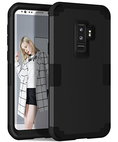 Galaxy S9 Plus Case, TOPBIN [3 in 1] Hybrid Dual Layer Hard PC+ Soft Silicone Anti-Scratch Full-Body Protective Case for Samsung Galaxy S9 Plus 6.2inch 2018 Released (Black)