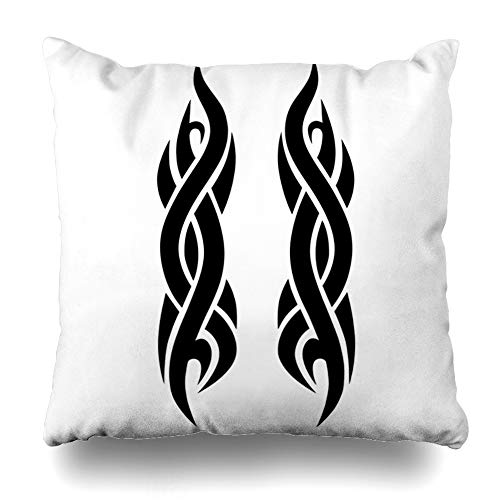 Ahawoso Throw Pillow Cover Fire Ankle Tribal Pattern Tattoo Abstract Girl Arm Armband Black Celtic Chest Design Flame Decorative Cushion Case 16x16 Inches Square Home Decor Pillowcase