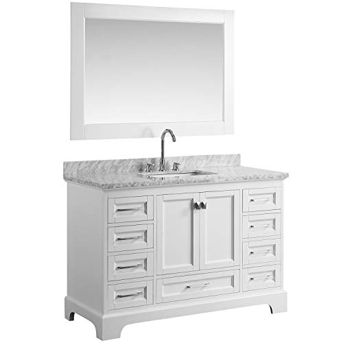 """Luca Kitchen & Bath LC54JWW Chole 54"""" Single Sink Bathroom Set in White Vanity with Carrara Marble Top and Mirror"""