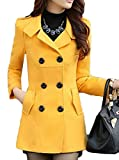 Macondoo Womens Solid Classic Double-Breasted Slim Outerwear Pea Coat Yellow L