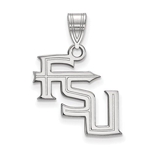 14k White Gold LogoArt Official Licensed Collegiate Florida State University (FSU) Medium Pendant by Logo Art
