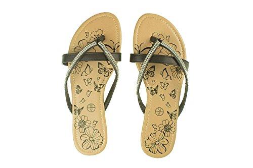 Esmara® Damen Pantoletten - Sommer Schuhe - Sandalen Schwarz/Strass