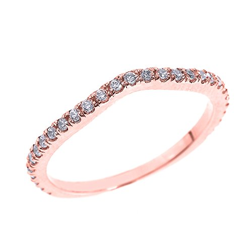 Solid 14k Rose Gold Chevron Stackable CZ Wedding Band (Size (Chevron Wedding Bands)