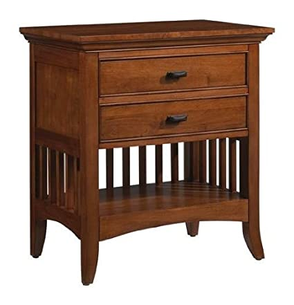 Superbe Cresent Furniture Modern Shaker Nightstand W Power Outlet In Cherry Finish  306844