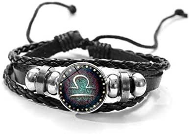 Twelve constellations gemstone bracelet retro handmade beaded leather bracelet jewelry Libra