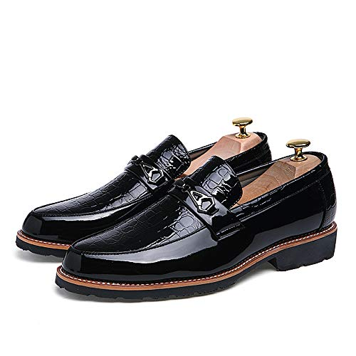 holgazán tacón Negro EU resbalón Negro Zapatos Plano en Hombre Color Opcional 38 tamaño Jusheng Convencional Casuales Oxfords Ocio de cqCwEYBf