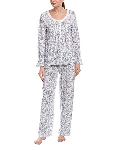 Carole Hochman Women's Long Sleeve Pajama Set, Navy Toile Floral, S ()