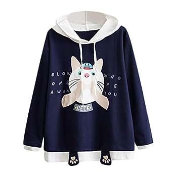 Sylar Sudaderas Para Mujer Cortas, Moda Lindo Gato De Impresión con Capucha Manga Larga Suelto Outwear Camiseta Blusa Tops Pullover Jersey Talla Grande: ...