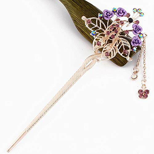 Crystal Hair Stick Chopstick Bun Holder Metal Hairpin Ancient Chinese Style (Color - Purple)