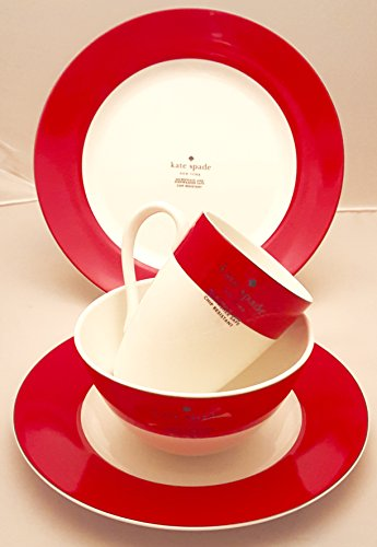 Vibe China Lenox - 4-Piece Kate Spade Lenox Rutherford Circle Red Pattern Dinner & Salad Plate, Bowl & Tea / Coffee Cup Set
