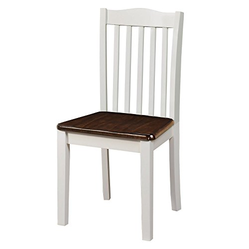 Dorel Living Shiloh Dining Chairs (2 Pack), Dark Walnut / White