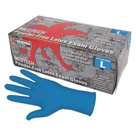 Gloves, M, Blue, 12 in. L, Latex, PR, PK50
