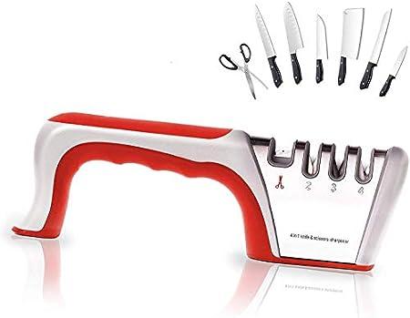 Self Ideas - Afilador de Cuchillos Manual. Afilador Profesional con 4 Funciones. Eficaz para Todo Tipo de Cuchillos de Cocina.