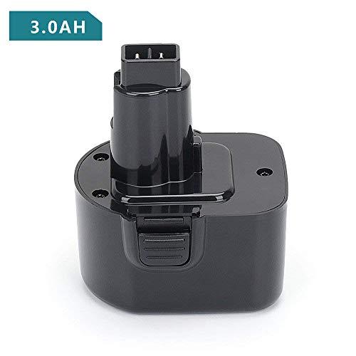 Replace Dewalt 12V Battery for DW9071 DC9071 DW9072 DW904 DW927 DW930 DW953 DW972 DW979 DW980 DC528 DC727, REEXBON 12 Volt 3.0Ah / 3000mAh NiMh Replacement Battery for Dewalt