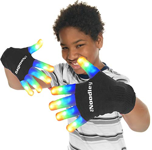 The Noodley Flashing LED Light Gloves - Kids Size and Adult Size - Extra Batteries (Large, Black)]()