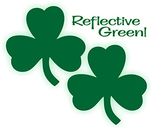 Pair of 3-inch Reflective Green SHAMROCK Decals | Hard Hat Helmet Window Stickers Labels Car Truck Graphic Lucky Irish Welder Mechanic Toolbox (Shamrock Window)