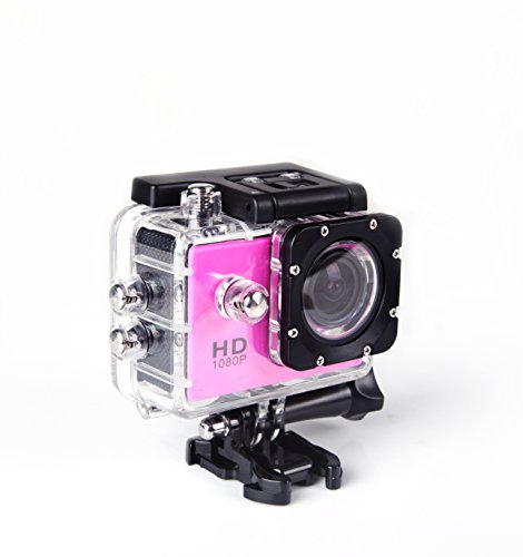 Digital Action Camera Waterproof Sports Camera Cam Camcorders Wifi HD 1080P 30fps 12MP 170 Degree Wide Angle and Helmet Accessories Kit- Waterproof 100ft (pink) by Tyson