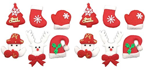 Assorted 12pcs Christmas Felt Applique Kit Christmas Tree Snowman Stocking Gloves Hat Santa Reindeers Non-Woven Stickers for DIY Craft Gift Home ()
