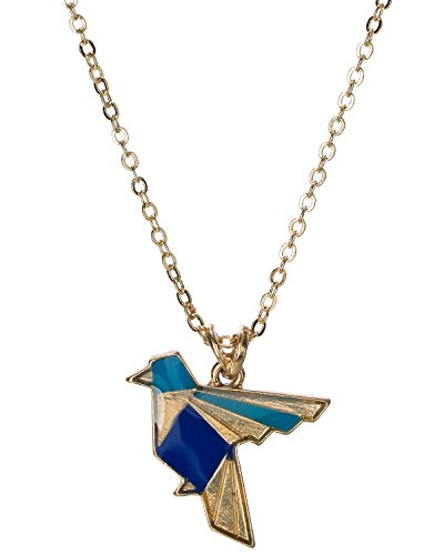 Jewelry Nexus Gold-Tone Dangling Blue Mosaic Small Bird Enamel Pendant Charm Necklace