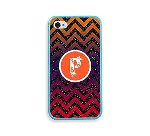 Chevron Monogram P Aqua Bumper iPhone 4 Case Fits iPhone 4 & iPhone 4S