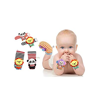 COOLOH 4-Piece Animal Baby Infant Wrists Rattle and Socks Foot Finders Set Developmental Soft Toy - Lion and Panda : Baby