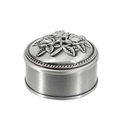 Multifit Antique Metal Rose Engraving Round Shape Wedding Ring Jewelry Box Trinket Jewelry Storage Keepsake Box(Round shape)