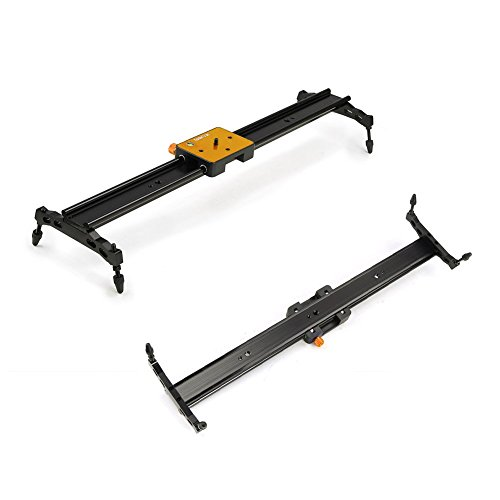 "Koolertron Aluminum Alloy Video Track Slider in Video Shooting Rail Stabilization System With 1/4"" and 3/8"" Screw for Canon Nikon Sony DSLR Cameras Camcorders (60cm / 24"" Length, Golden)"