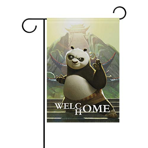 AfdsaswfvsJj Kung Fu Panda Cartoon Anime Movie White Welcome Home Garden Flag Vertical Double Sided Yard Flags Outdoor Decorative House Yard Flag 12x18 Inch Polyester Durable