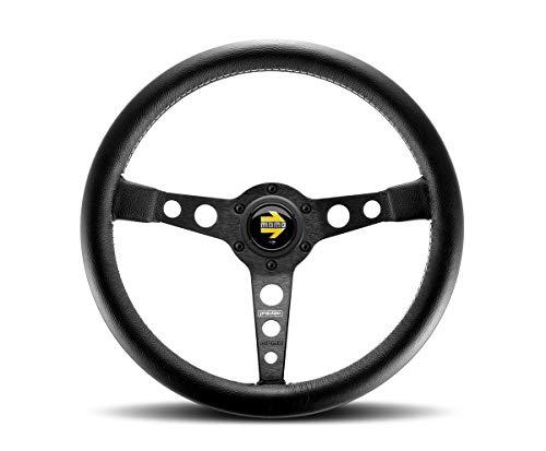 Leather Prototipo - MOMO Prototipo Black Spoke Version 350 mm Leather Steering Wheel (Euro)