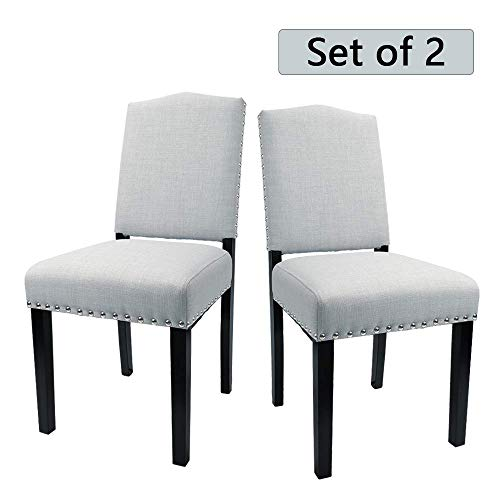 Classic Chair Parson Upholstered (Furmax Dining Chairs Classic Upholstered Fabric Padded Parson Chairs Urban Style Polished Nailhead Tufted Chair with Solid Wood Legs,Set of 2(Blue Gray))