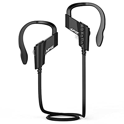 APIE Wireless Sports Bluetooth V4.1 Headphones Sweatproof Running Exercise Stereo with Mic Earbuds Earphones Noise Cancelling Neckband Earphones