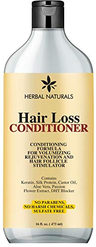 Hair Loss Conditioner Infused with Keratin Silk Protein, Natural Ingredients - Provides Hair Growth Stimulation, Hair Thickening, Nourishment and adds Volume, For All Hair Types Men and Women 16 fl Oz (Best Herbal Shampoo For Hair Loss)