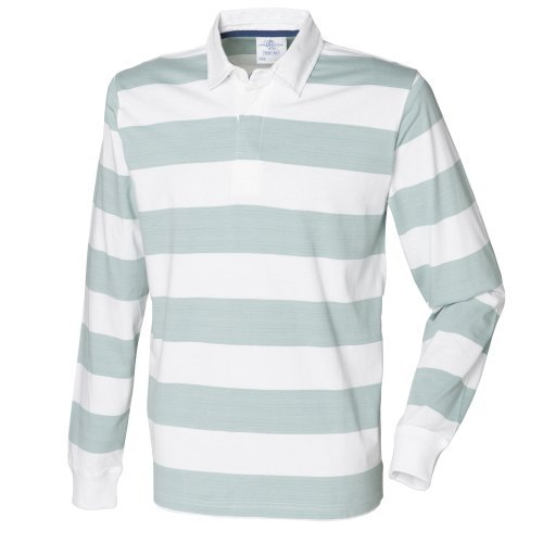 Front Row Mens Striped Sports Rugby Polo Shirt (XL) (White/Duck Egg Blue) Front Row Rugby Shirt