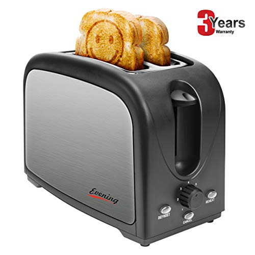 Evening 2-Slice Household Automatic Fast Heating Compact Brushed Stainless Steel Bread Toaster Breakfast Wide Slot Temp-Control Muffins,Waffles,Bagels, Cool Touch Defrost Reheat Cancel, Black