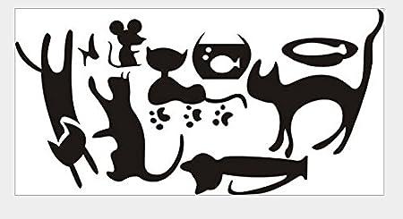 EXTSUD Autocollant Interrupteur Sticker Chat D/écoration Murale pour Mur Fen/être Bureau Chambre de B/éb/é Enfant 5 Chats