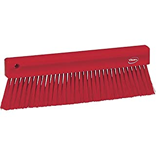 "Vikan 45824 Bench Brush, Polypropylene, Polyester Bristle, 11"", Red"