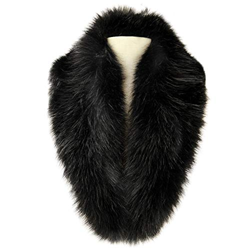 Dikoaina Extra Large Women's Faux Fur Collar for Winter Coat, Black, -