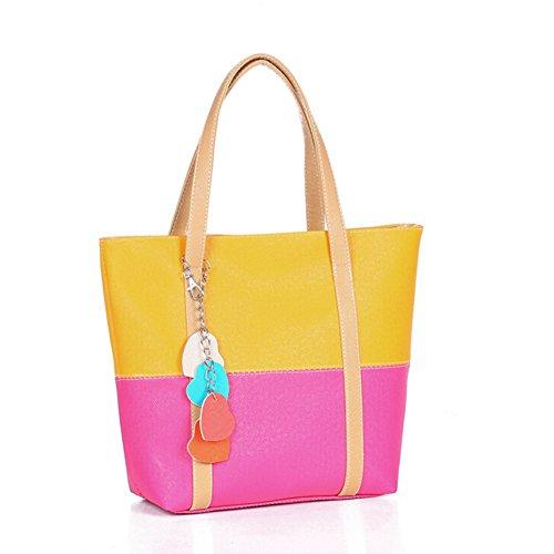 BYD - Mujeres Carteras de mano Color puro Alta calidad PU cuero Mutil Function Fashion School Bag Work Office Bag Bolsos totes Casual Style Amarillo