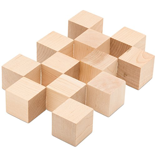 "2"" Wooden Cubes, Bag of 12 Unfinished Hardwood Square Birch Blocks, Baby Shower Decorating Cubes, Puzzle Making And DIY Craft Projects. (2 inch Wood -"