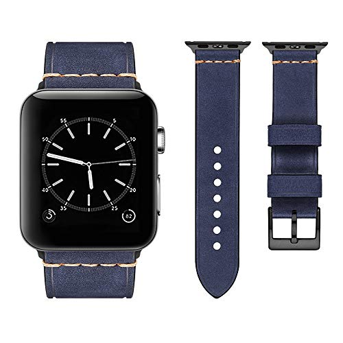 - top4cus Compatible with Apple Watch 38mm 42mm 40mm 44mm Genuine Leather Strap Series 4 Series 3 Band for Men and Women (42mm/44mm, Navy)