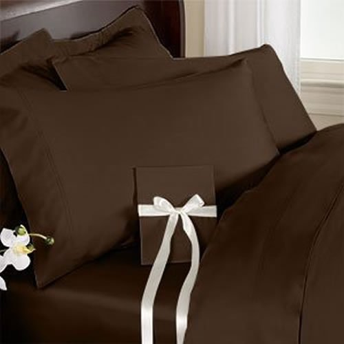 1000 Thread Count Nicely Fab RV Short Queen ( Size ) 100% Egyptian Cotton Flat / Top Sheet With Extra 2 PC Pillow Cases All Heavy Colors Solid ( Chocolate ) By Galaxy's Linen