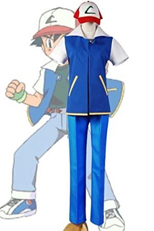 Pokemon ash ketchum cosplay traje de baño, azul, XL: Amazon ...