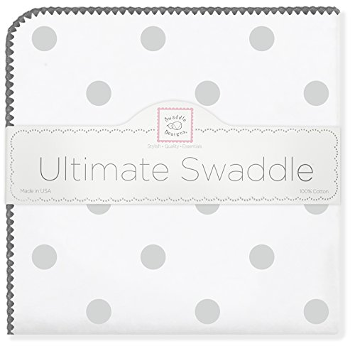 SwaddleDesigns Ultimate Swaddle Blanket, Made in USA, Premium Cotton Flannel, Sterling Big Dots
